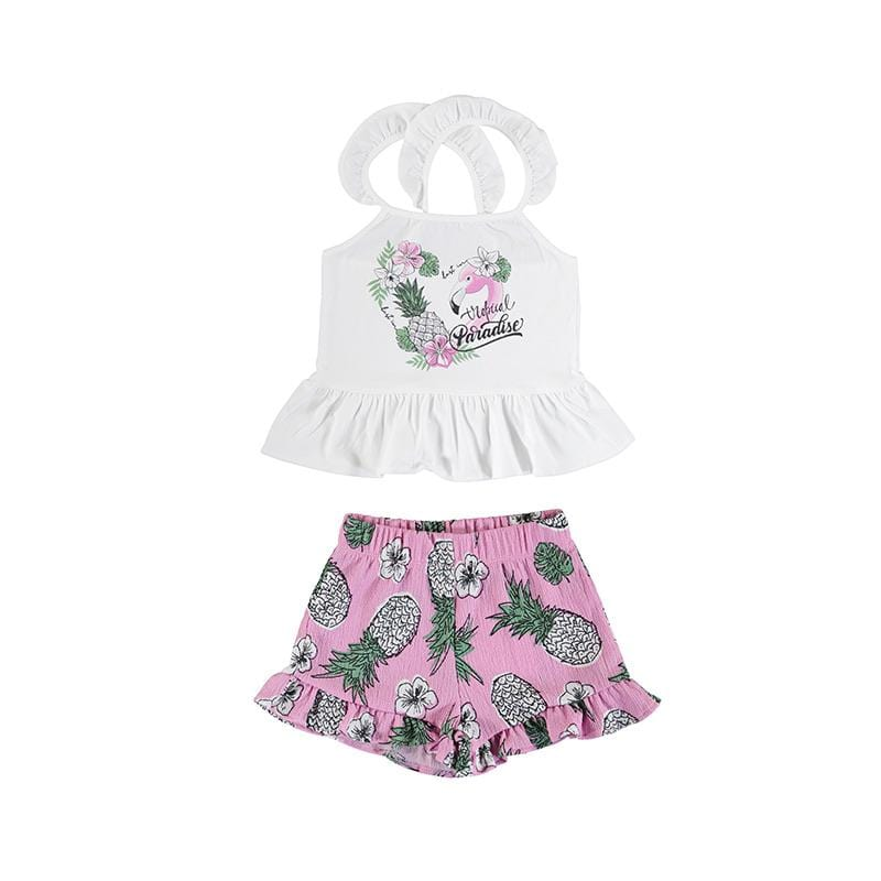 MAYORAL SS21 PINK FLAMINGO TEEN SHORT SET