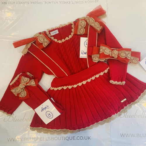 PRAHIGO PINAFORE SET  RED WITH CAMEL TRIM INCLUDING HAIRBAND & SOCKS