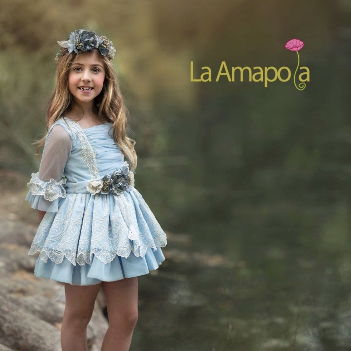 LA AMAPOLA DIANA BABY BLUE CEREMONIAL DROP WAIST DRESS