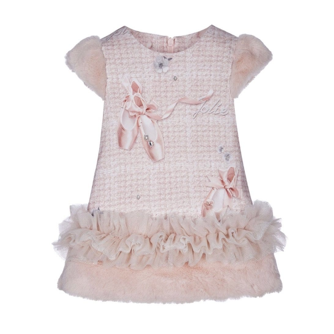 LAPIN HOUSE BALLET SHOE FAUX FUR TRIM DRESS