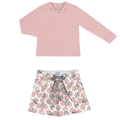 PREORDER MAYORAL PINK DIAMANTÉ PETER PAN COLLAR TOP WITH SHORTS