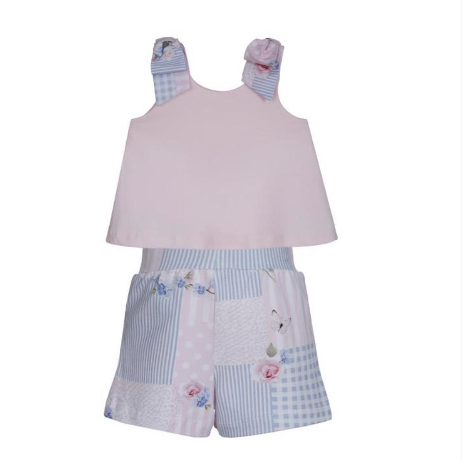 LAPIN HOUSE PINK PATCHWORK TOP & SHORT SET