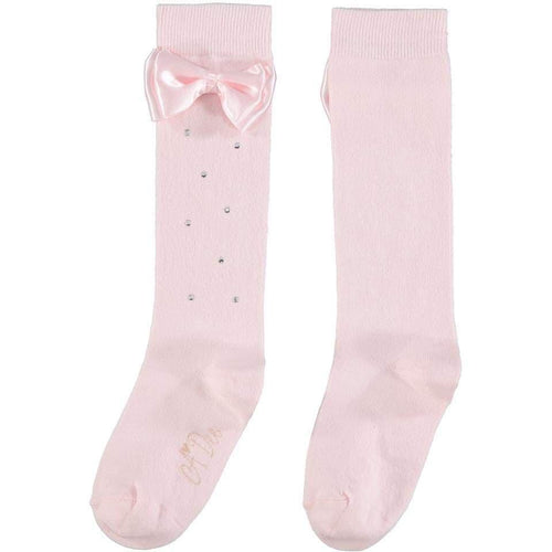 A DEE PALE PINK BOW KNEE HIGH SOCKS W202914 FLORISE