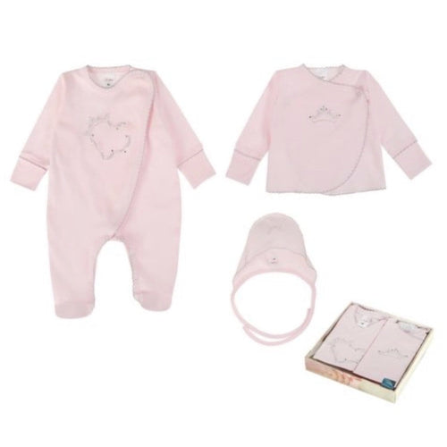 SOFIJA PINK DIAMANTÉ DETAIL THREE PIECE BABYGROW