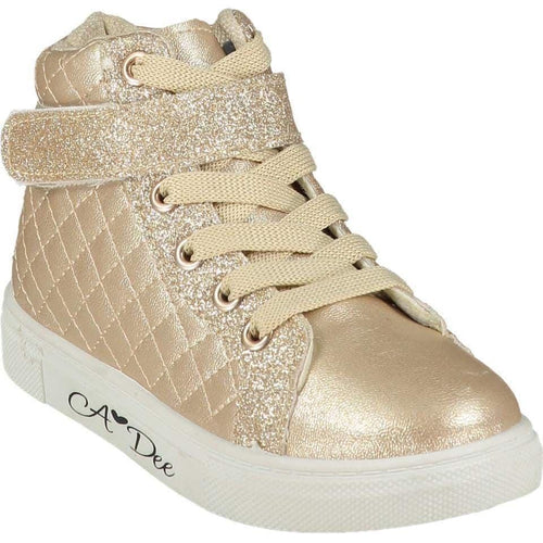 A DEE QUILTED HIGH TOP TRAINER CHAMPAGNE