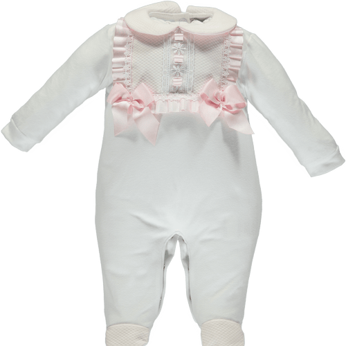 Piccola Speranza - Bib Trim Babygrow - White