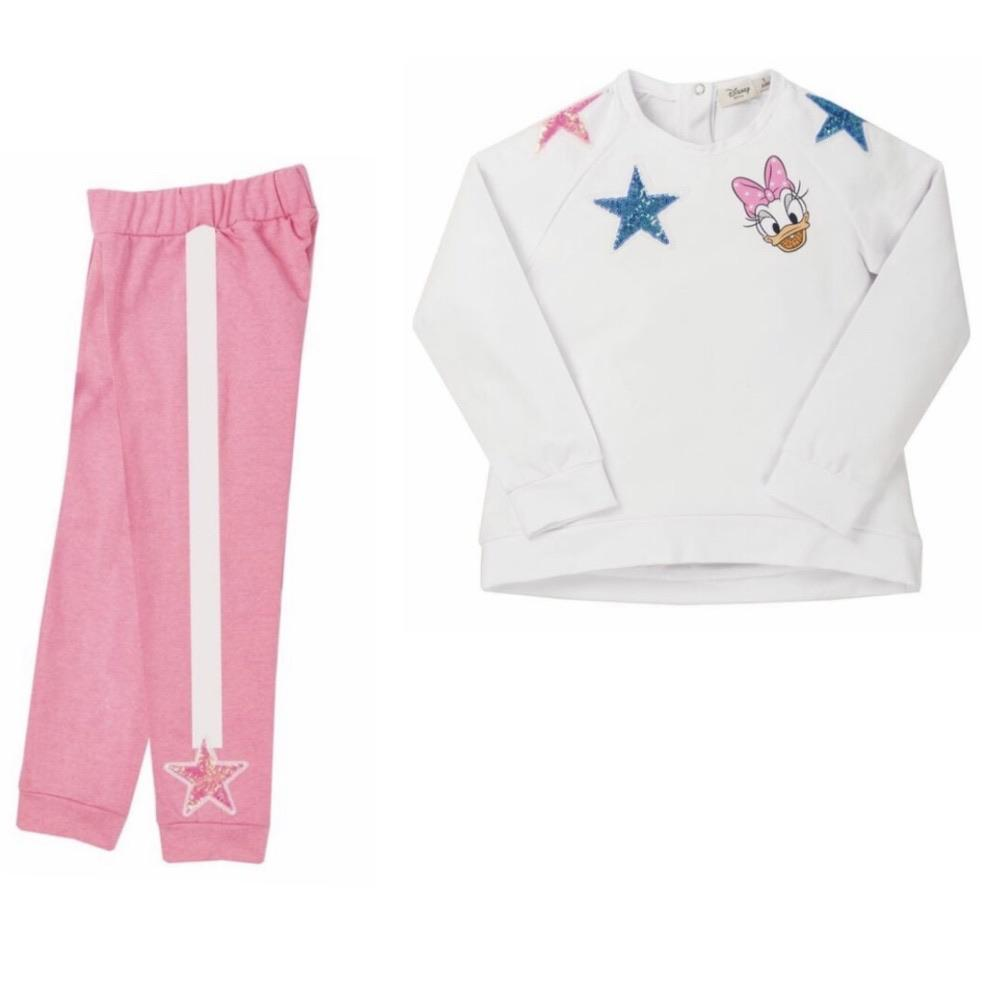 EVERYTHING MUST CHANGE DISNEY DAISY DUCK WHITE SWEAT TOP & PINK JOGGERS