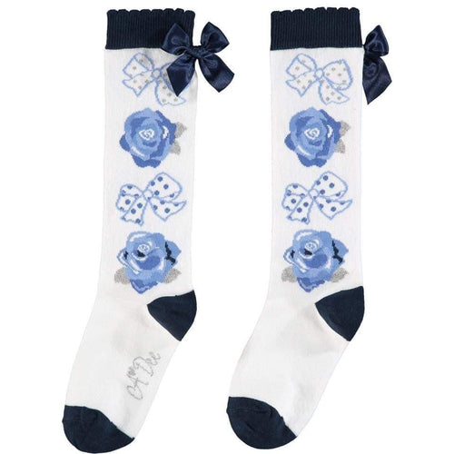 A DEE WHITE BOWS & ROSES KNEE HIGH SOCKS W202931