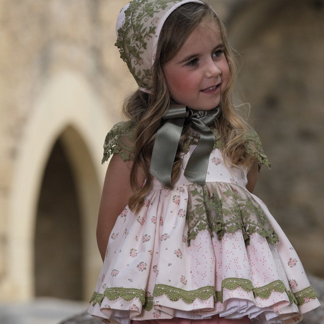 SANCHEZ DE LA VEGA  OLIVA BABY DRESS & BONNET