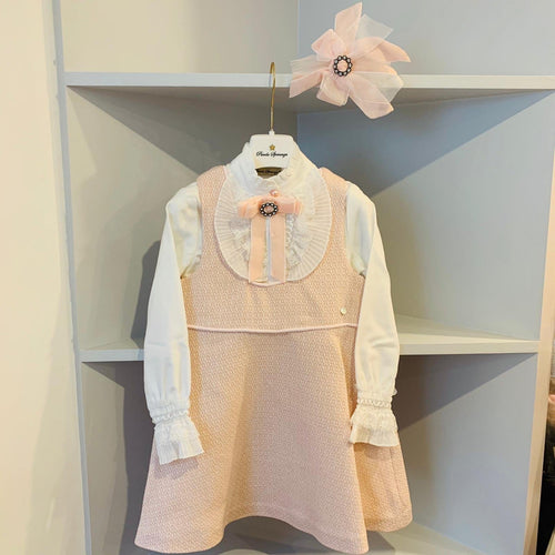 PICCOLA SPERANZA BABY PINK PINAFORE DRESS AND BLOUSE