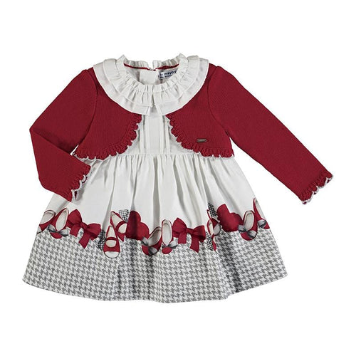 PREORDER MAYORAL TODDLER RED KNIT MIX DRESS