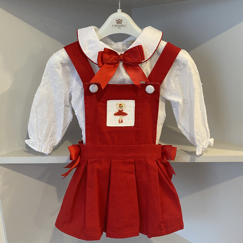 CARAMELO KIDS RED BALLERINA SMOCKED PINAFORE