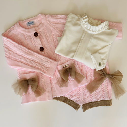 RAHIGO ROSIE PINK WITH CAMEL TRIM FOUR PIECE SET