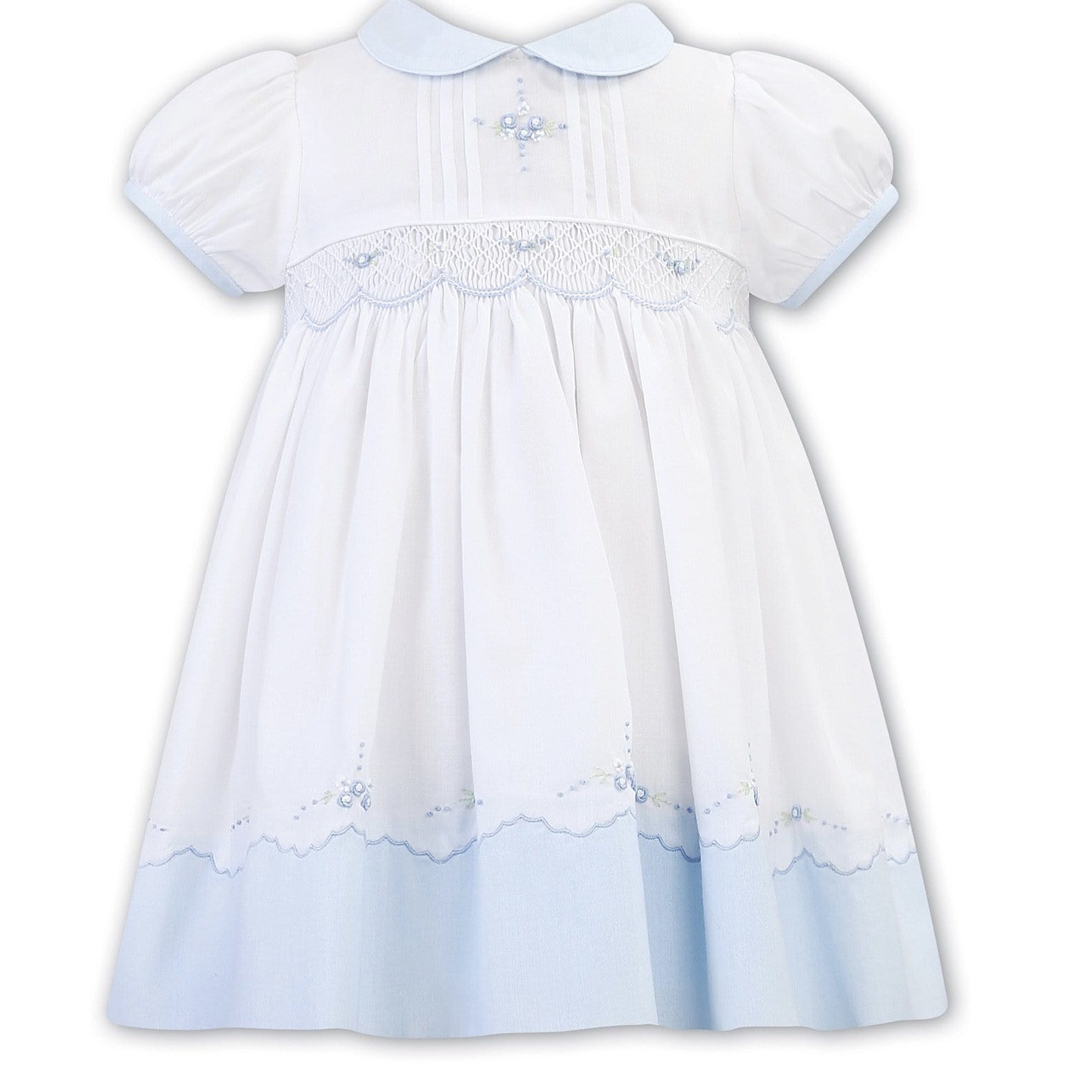 SARAH LOUISE  WHITE WITH BLUE SMOCKED DRESS WINTER