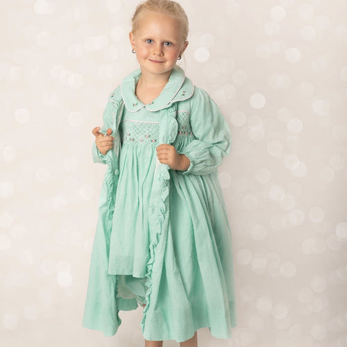 MINT SMOCKED DRESSING GOWN & MATCHING TWO PIECE SET