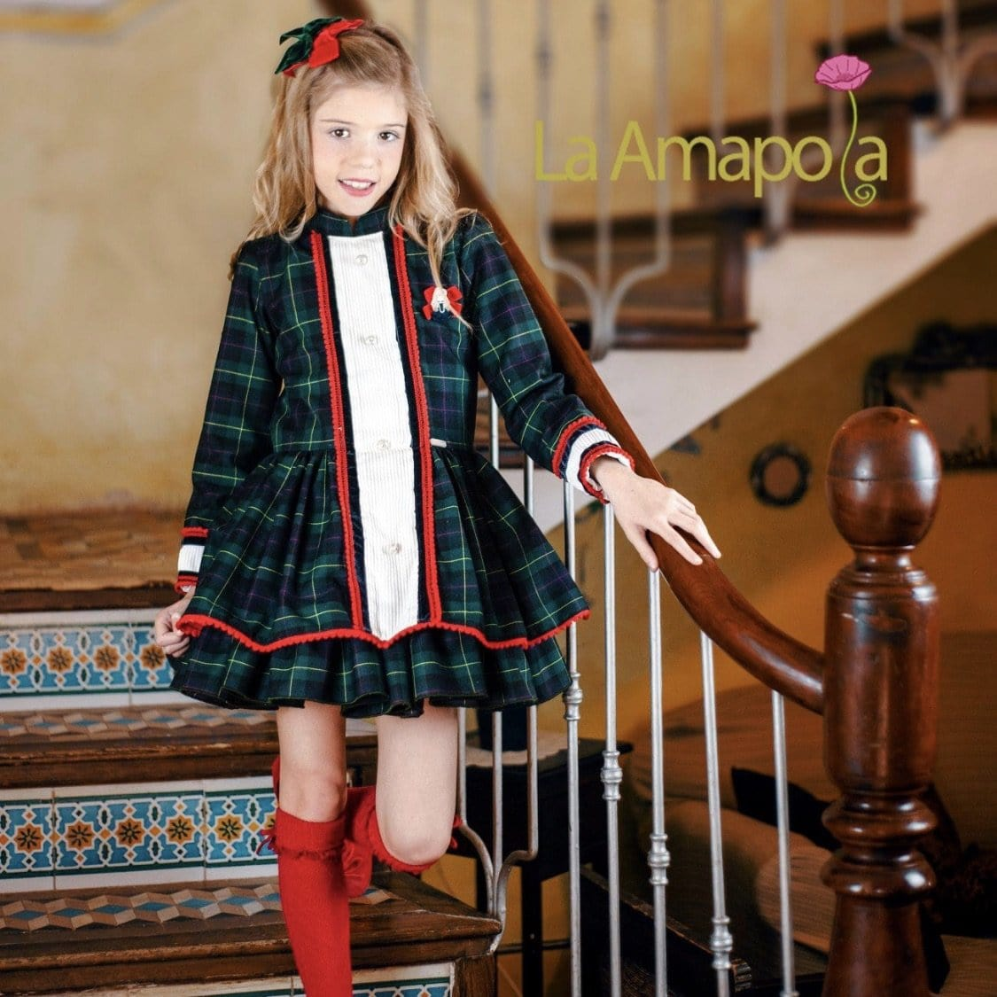 LA AMAPOLA TARTAN DROP WAIST DRESS