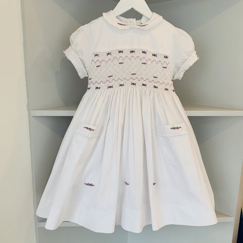 HANDMADE SMOCKED LILAC ROSE DRESS