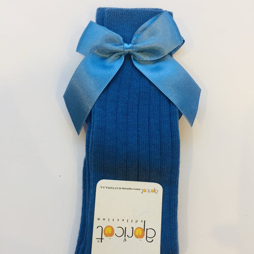 APRICOT BLUE KNEE HIGH BOW SOCKS