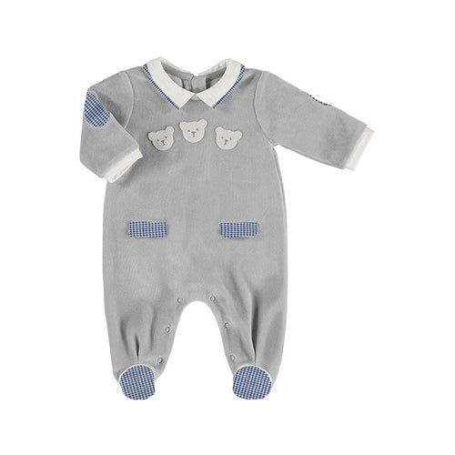 MAYORAL GREY VELOUR BABYGROW