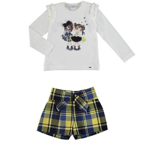 PREORDER MAYORAL NAVY GIRLS TOP & TARTAN SHORTS