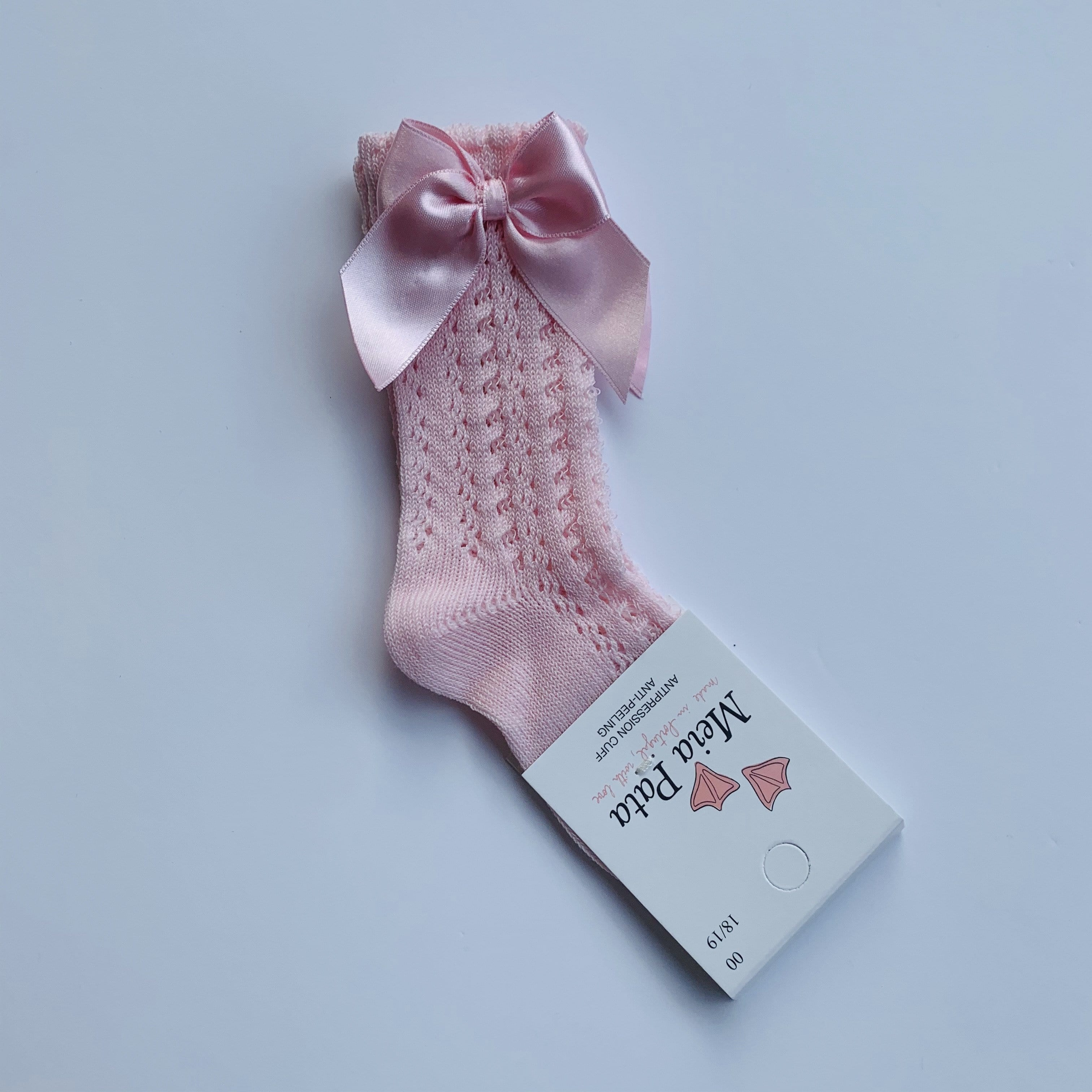 MEIA PATA BABY PINK OPEN KNIT  KNEE BOW SOCKS