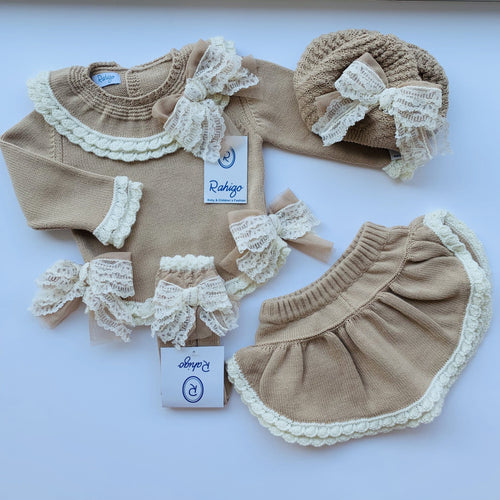 PRE ORDER RAHIGO LOTTIE CAMEL WITH CREAM TRIM FOUR PIECE SET