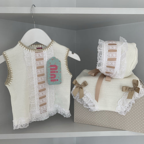 NINI WHITE & BABY CAMEL THREE PIECE KNIT SET