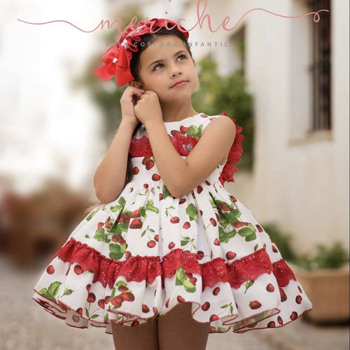 CHERRY MERICHE PUFFBALL DRESS