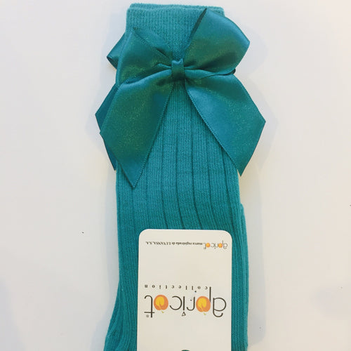 APRICOT JADE GREEN KNEE HIGH BOW SOCKS