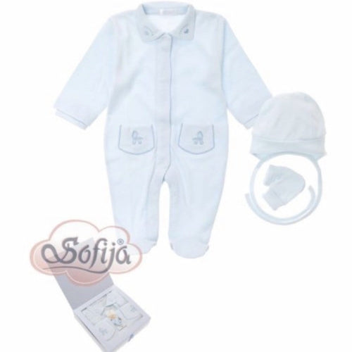 SOFIJA BLUE & WHITE THREE PIECE BABYGROW SET BOXED