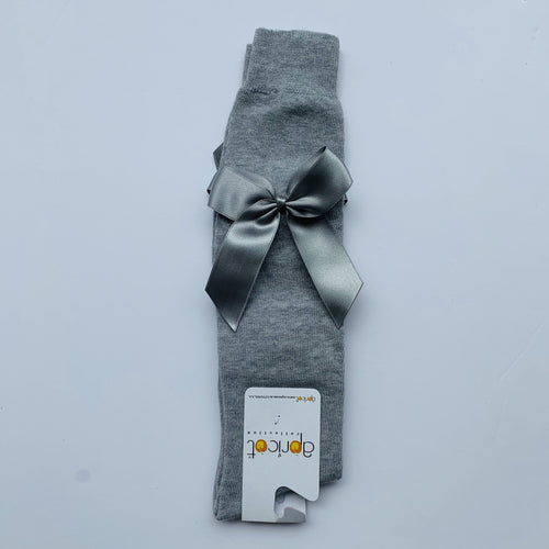 APRICOT GREY OVER KNEE  BOW SOCKS