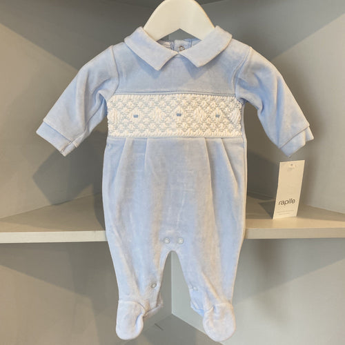 RAPIFE VELOUR BABY BLUE EMBROIDERED BABYGROW