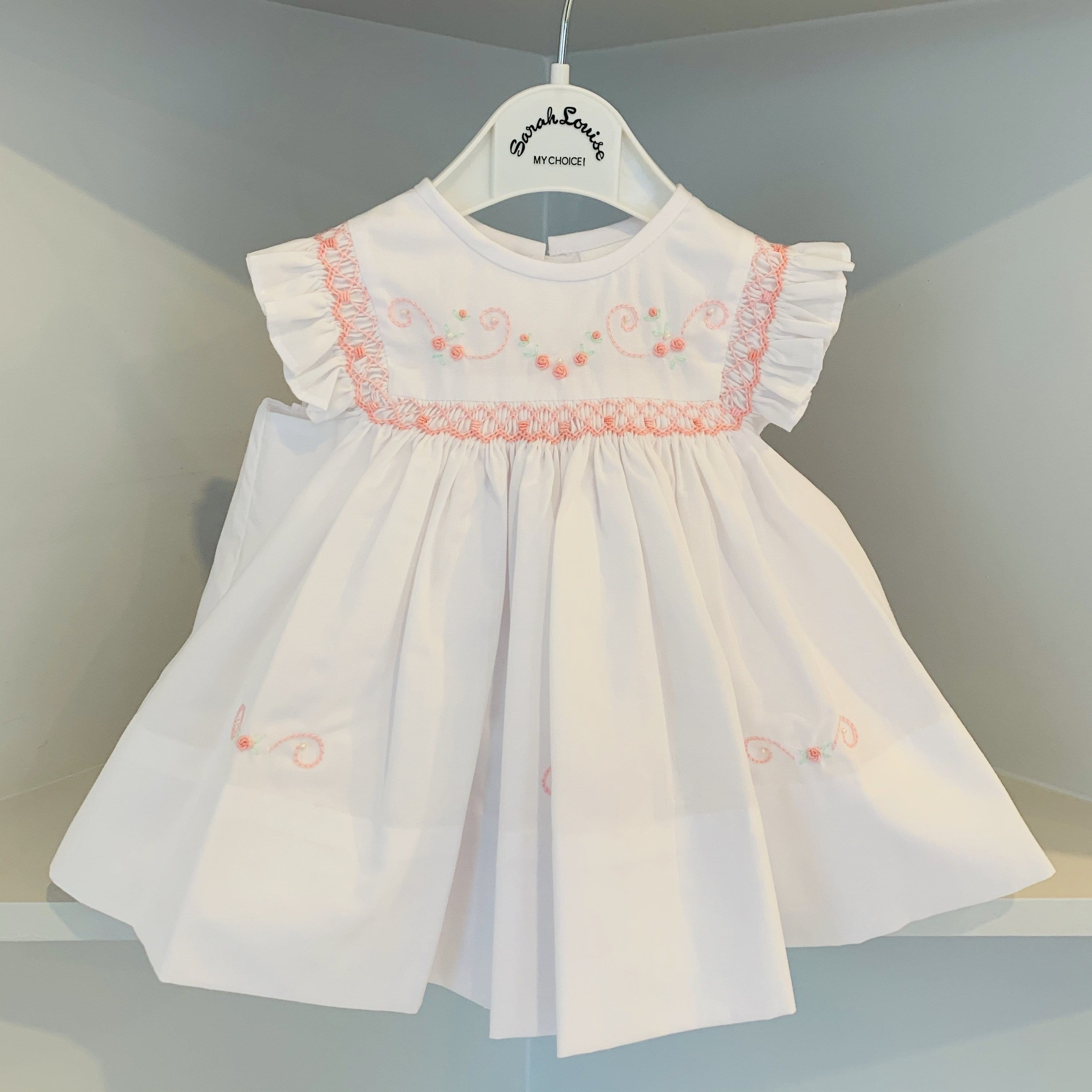 SARAH LOUISE WHITE / PINK SMOCKED DRESS
