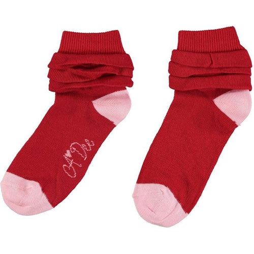 A DEE RED FRILL ANKLE SOCKS W201906 ERIN