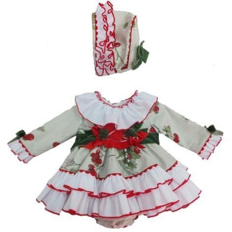 PRE ORDER NINI BERRY BABY DRESS & BONNET