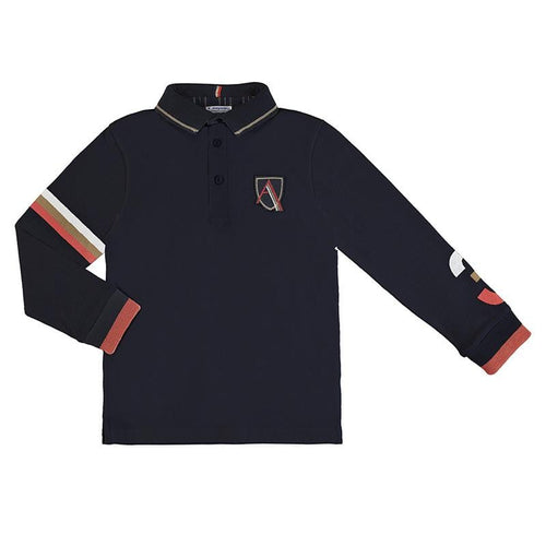 PREORDER MAYORAL NAVY LONG SLEVE POLO TOP