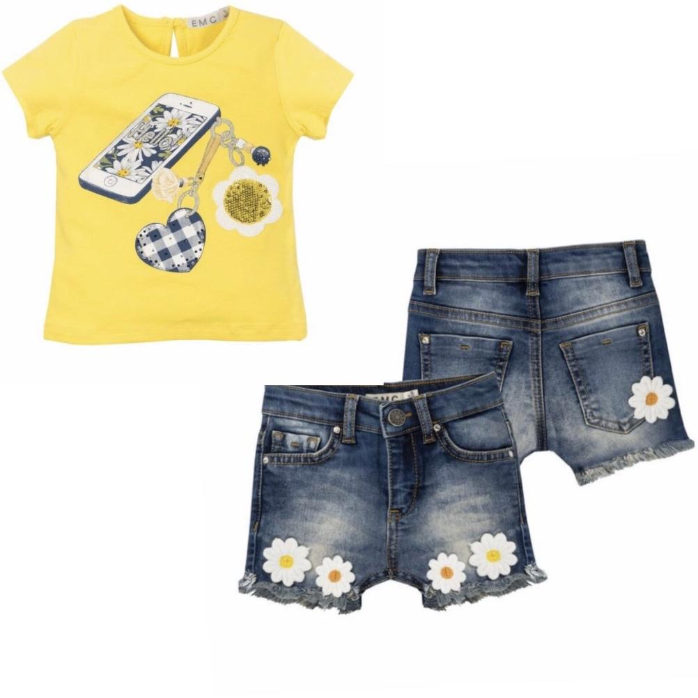 EVERYTHING MUST CHANGE DAISY CHAIN PHONE TOP & DENIM SHORT SET