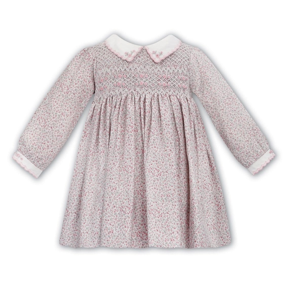 SARAH LOUISE PINK FLORAL SMOCKED DRESS