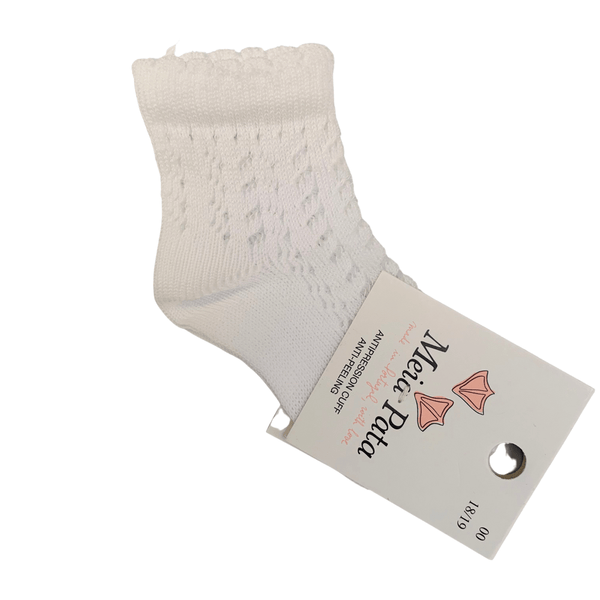 MEIA PATA - Open Knit Ankle Sock - White