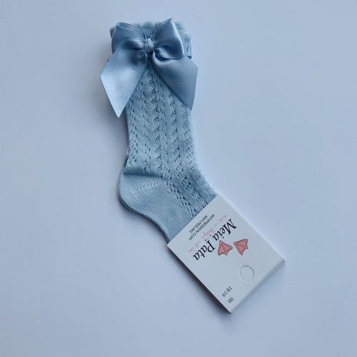 MEIA PATA BABY BLUE OPEN KNIT  KNEE BOW SOCKS