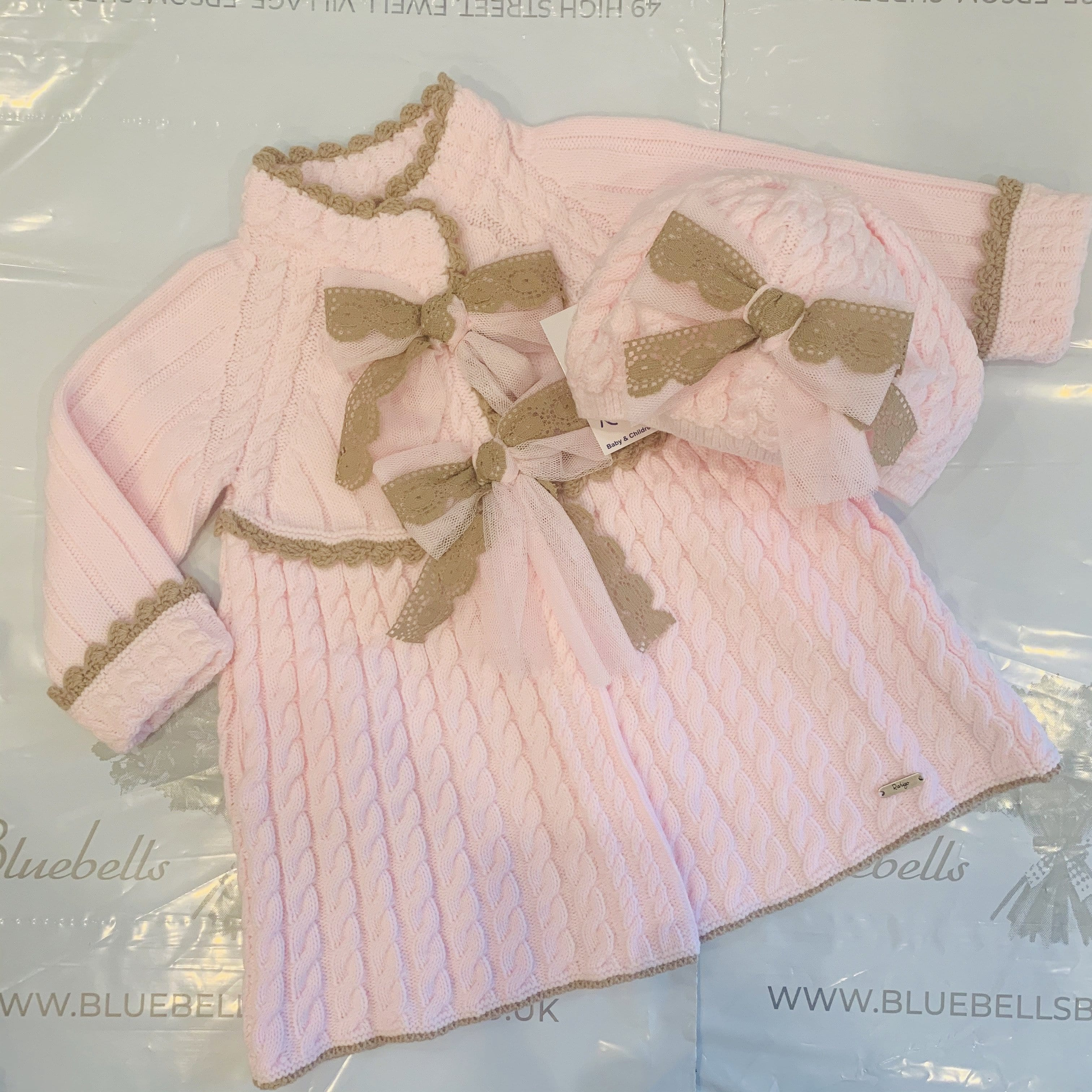 RAHIGO COAT BABY PINK WITH CAMEL TRIM INCLUDING BERET