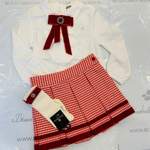PICCOLA SPERANZA RED CHECK BLOUSE AND SKIRT WITH SOCKS