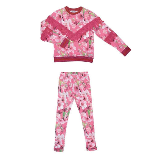 HAPPY CALEGI ISA FLORAL PRINT SWEAT TOP & LEGGING SET
