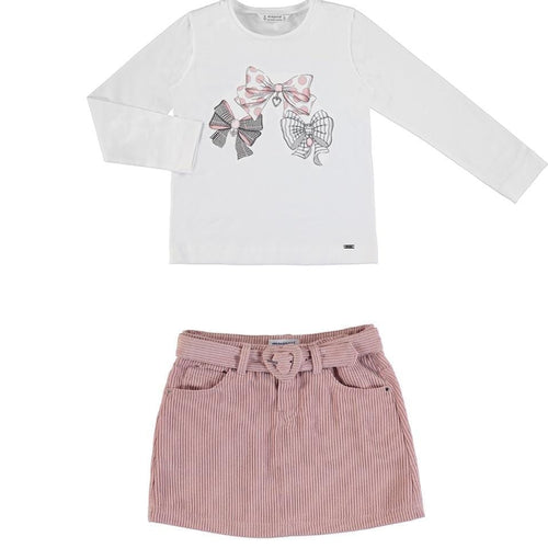PREORDER MAYORAL PINK BOW TOP & SKIRT