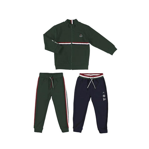MAYORAL GREEN STRIPED TWO PANT TRACKSUIT