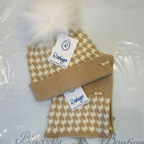 RAHIGO CAMEL DOG TOOTH HAT & SCARF SET