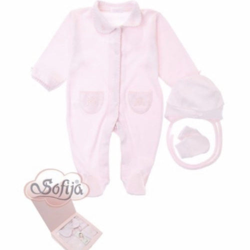 SOFIJA PINK THREE PIECE BABYGROW SET BOXED