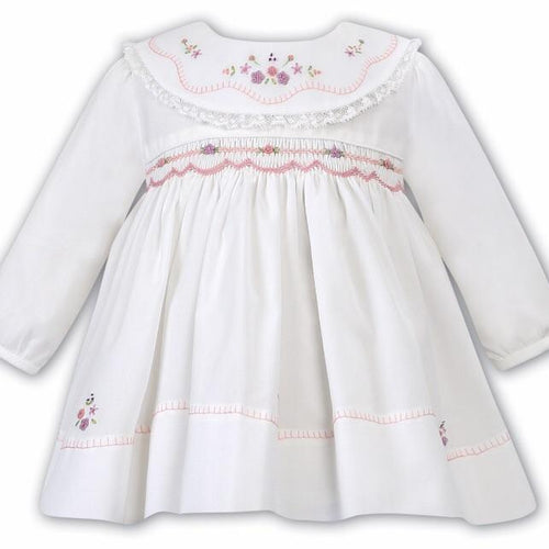 SARAH LOUISE WHITE SMOCKED DRESS WITH PINK & PURPLE EMBROIDERY WINTER 011639