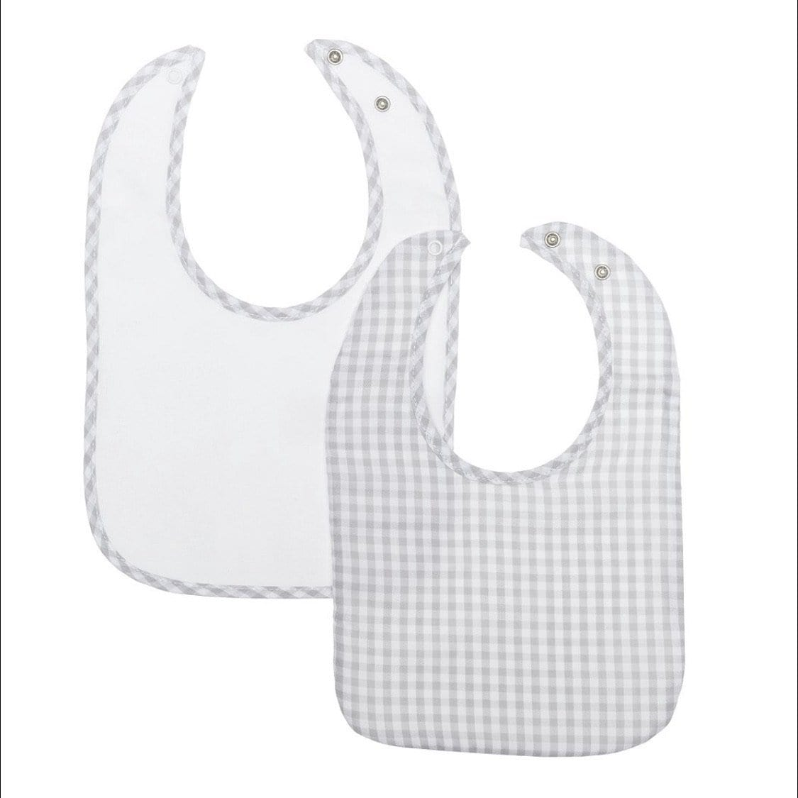 LARANJINHA GREY GINGHAM BIB TWO PACK