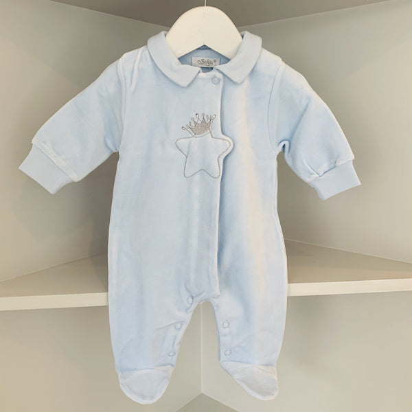SOFIJA - Velour Diamanté Babygrow - Blue
